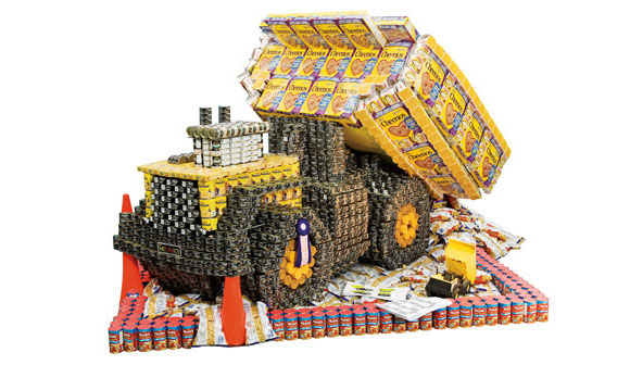 Food Cans As Sculptures For A Good Cause Blognator
