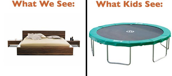 adult kids see trampoline bed The Big Difference Between Adults And Children