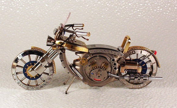 blue watch motorcycle1 Mini Bikes And Vehicles Made From Watches