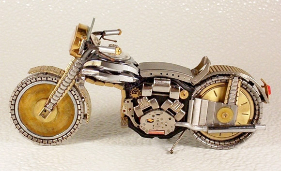gold watch motor part1 Mini Bikes And Vehicles Made From Watches