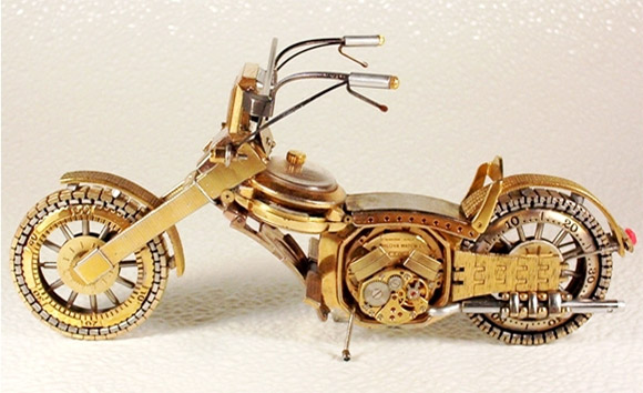 mini motorcycle watch1 Mini Bikes And Vehicles Made From Watches