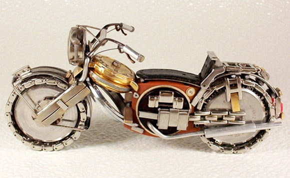motorcycle parts watch1 Mini Bikes And Vehicles Made From Watches