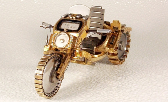 motorcycle rough watch1 Mini Bikes And Vehicles Made From Watches