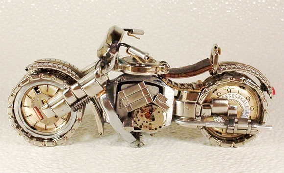 silver watch motorcycle1 Mini Bikes And Vehicles Made From Watches