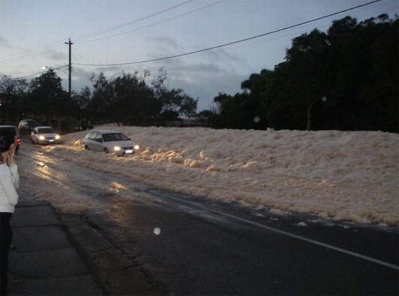 foam cost road This is not snow. Ocean foam at Australia's beaches