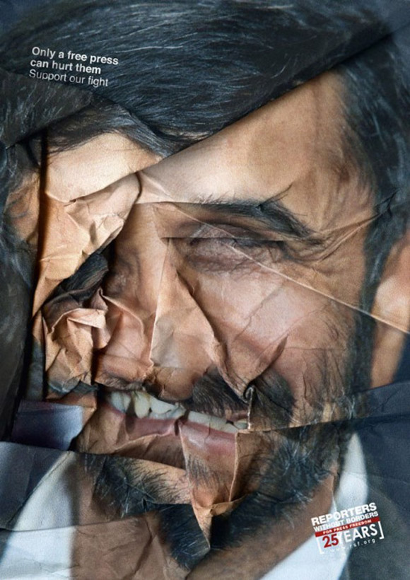 reporters without borders 3 Ads With Scrunched Faces For Freedom Of Press